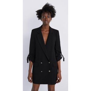 Zara Black Lapel Double Breasted Oversized Blazer